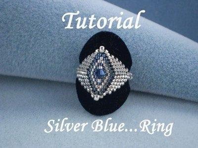 Beading Tutorial Silver Blue Ring