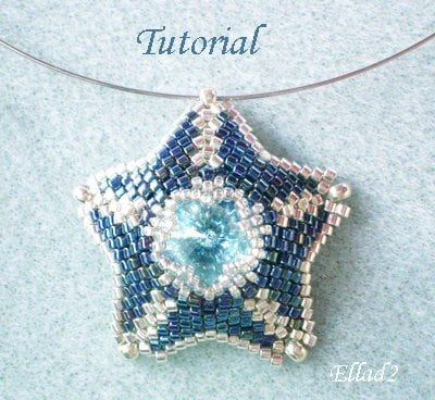 Beading Tutorial Silver Blue Star Pendant