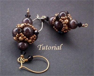Beading Tutorial black-and-gold-earrings-ell