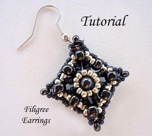 Beading Tutorial Filigree Earrings - Ellad2