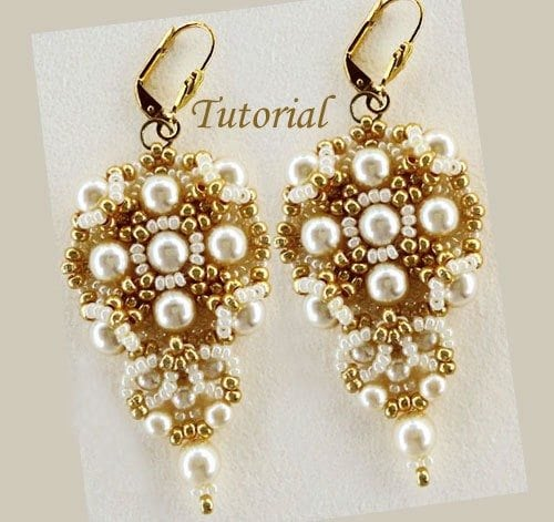 Beading Tutorial Gold and Ivory Earrings