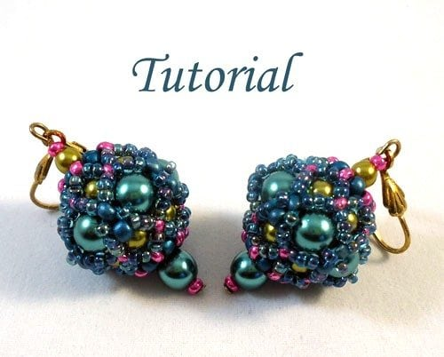 Beading Tutorial Beaded-bead earrings