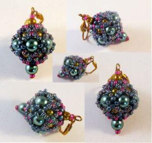 Beaded bead earrings No. 4