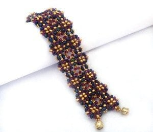 Purple Twins Bracelet-Beading pattern with twin beads