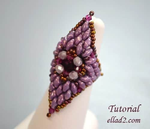 Beading tutorial Extravaganza ring by Ellad2