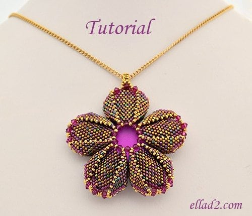 Beading Tutorial Morning Glory pendant by Ellad2