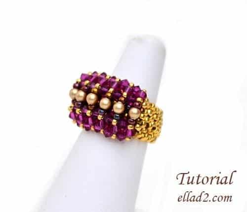 Beading Pattern Ring Malina by Ellad2