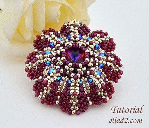 Beading Tutorial Pendant Purpurea Flower by Ellad2
