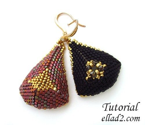 Beading-pattern-Triangular-Drop-Earrings