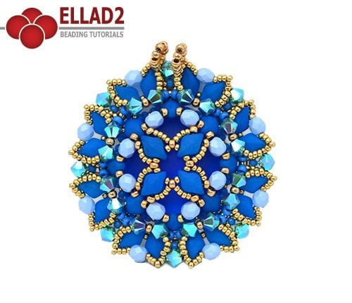 Beading Tutorial Aiko Pendant with Diamonduo beads Ellad2
