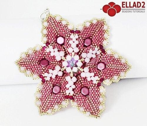 Beading tutorial Alisha Flower Pendant by Ellad2