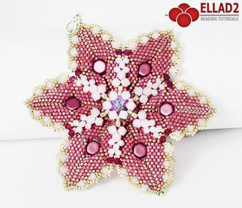 Beading tutorial Alisha Flower Pendant by Ellad2