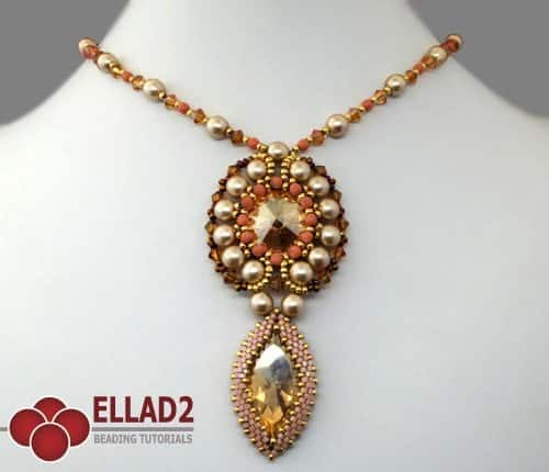 Beading Tutorial Marquise Pendant by Ellad2