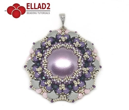 Beading Tutorial Viola Pendant with Ginko beads by Ellad2