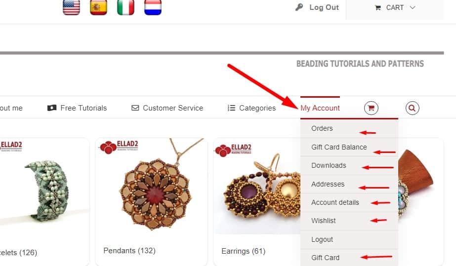 Order status Ellad2 customer account
