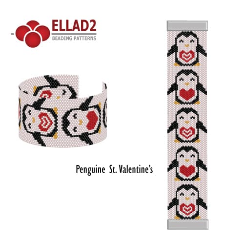 Penguin St. Valentine's beading pattern